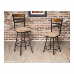 Tempo Metal Swivel Stool Bronze / Medium Oak - Largo - LARGO-ST-D234-2X