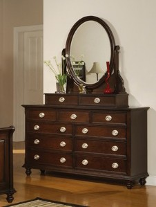 Temre Dresser with Mirror in Rich Cappuccino - Coaster - 201573-74-SET