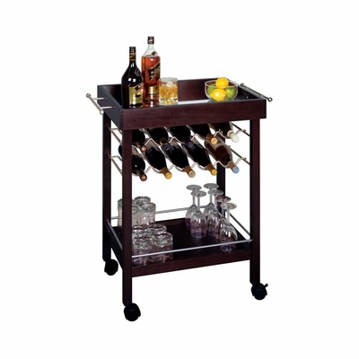 Ten Bottle Wine Cart in Expresso - Winsome Trading - 92329