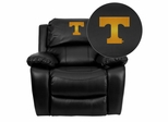 Tennessee Volunteers Embroidered Black Leather Rocker Recliner  - MEN-DA3439-91-BK-40005-EMB-GG