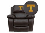 Tennessee Volunteers Embroidered Brown Leather Rocker Recliner  - MEN-DA3439-91-BRN-40005-EMB-GG