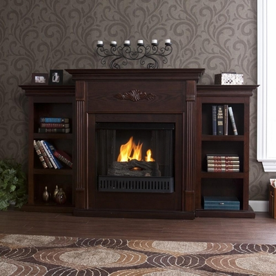 Tennyson Espresso Gel Fireplace w/ Bookcases - Holly and Martin