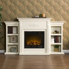 Tennyson Ivory Electric Fireplace w/ Bookcases - Holly and Martin