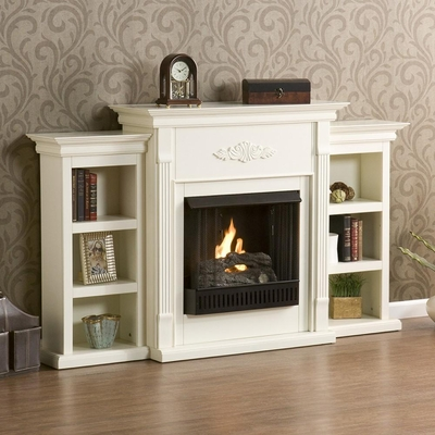 Tennyson Ivory Gel Fireplace w/ Bookcases - Holly and Martin