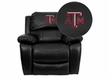 Texas A&M University Aggies Black Leather Rocker Recliner - MEN-DA3439-91-BK-40007-EMB-GG