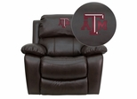 Texas A&M University Aggies Brown Leather Rocker Recliner - MEN-DA3439-91-BRN-40007-EMB-GG