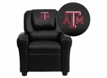 Texas A&M University Aggies Embroidered Black Kids Recliner - DG-ULT-KID-BK-40007-EMB-GG