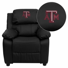 Texas A&M University Aggies Embroidered Black Leather Kids Recliner- BT-7985-KID-BK-LEA-40007-EMB-GG