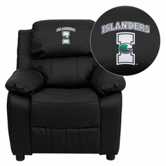 Texas A&M University - Corpus Christi Islanders Embroidered Black Leather Kids Recliner, Storage Arms - BT-7985-KID-BK-LEA-41076-EMB-GG