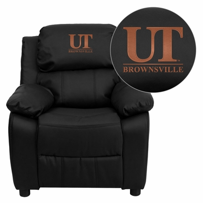 Texas at Brownsville Scorpions Embroidered Black Leather Kids Recliner - BT-7985-KID-BK-LEA-41098-EMB-GG