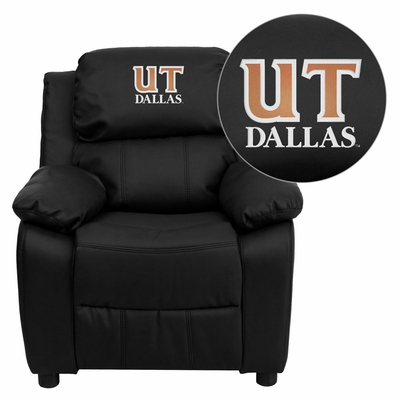 Texas at Dallas Comets Embroidered Black Leather Kids Recliner - BT-7985-KID-BK-LEA-41099-EMB-GG