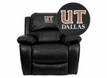 Texas at Dallas Comets Embroidered Black Leather Rocker Recliner  - MEN-DA3439-91-BK-41099-EMB-GG