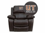 Texas at Dallas Comets Embroidered Brown Leather Rocker Recliner  - MEN-DA3439-91-BRN-41099-EMB-GG