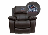 Texas at San Antonio Roadrunners Embroidered Brown Leather Rocker Recliner  - MEN-DA3439-91-BRN-41102-EMB-GG