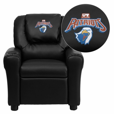 Texas at Tyler Patriots Embroidered Black Vinyl Kids Recliner - DG-ULT-KID-BK-41103-EMB-GG