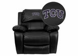 Texas Christian University Horned Frogs Black Leather Rocker Recliner - MEN-DA3439-91-BK-40004-EMB-GG