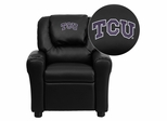 Texas Christian University Horned Frogs Black Vinyl Kids Recliner - DG-ULT-KID-BK-40004-EMB-GG