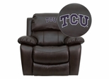 Texas Christian University Horned Frogs Brown Leather Rocker Recliner  - MEN-DA3439-91-BRN-40004-EMB-GG