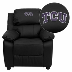 Texas Christian University Horned Frogs Embroidered Black Leather Kids Recliner - BT-7985-KID-BK-LEA-40004-EMB-GG