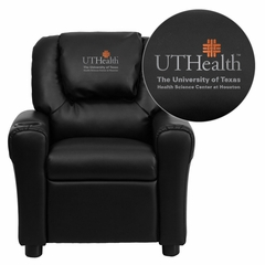 Texas Health Science Center Houston Black Vinyl Kids Recliner - DG-ULT-KID-BK-41104-EMB-GG