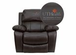 Texas Health Science Center Houston Embroidered Brown Leather Rocker Recliner  - MEN-DA3439-91-BRN-41104-EMB-GG
