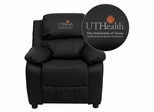 Texas Health Science Center Houston Leather Kids Recliner - BT-7985-KID-BK-LEA-41104-EMB-GG