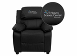 Texas Health Science Center San Antonio Black Leather Kids Recliner - BT-7985-KID-BK-LEA-41105-A-EMB-GG