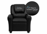 Texas Health Science Center San Antonio Black Vinyl Kids Recliner - DG-ULT-KID-BK-41105-A-EMB-GG