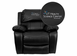 Texas Health Science Center San Antonio Embroidered Black Leather Rocker Recliner  - MEN-DA3439-91-BK-41105-A-EMB-GG