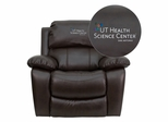 Texas Health Science Center San Antonio Embroidered Brown Leather Rocker Recliner  - MEN-DA3439-91-BRN-41105-A-EMB-GG