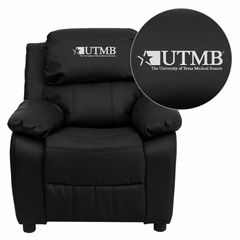 Texas Medical Branch Galveston Black Leather Kids Recliner - BT-7985-KID-BK-LEA-41106-EMB-GG