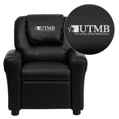 Texas Medical Branch Galveston Black Vinyl Kids Recliner - DG-ULT-KID-BK-41106-EMB-GG