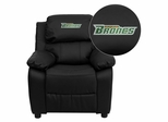 Texas - Pan American Broncos Embroidered Black Leather Kids Recliner - BT-7985-KID-BK-LEA-41100-EMB-GG