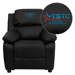 Texas State Technical College Embroidered Black Leather Kids Recliner - BT-7985-KID-BK-LEA-41077-EMB-GG
