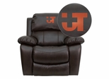 Texas SW Medical Center Dallas Embroidered Brown Leather Rocker Recliner  - MEN-DA3439-91-BRN-41107-EMB-GG