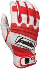 The Natural II Adult Batting Glove Pearl / Red - Franklin Sports