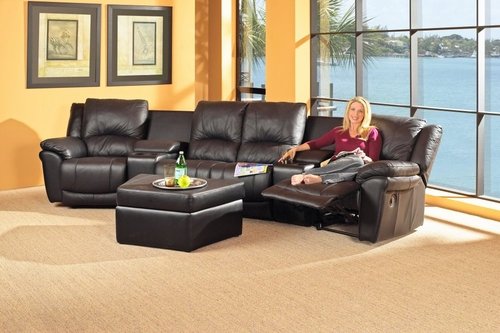 Theater Sectional and Storage Ottoman in Black Leather - Coaster