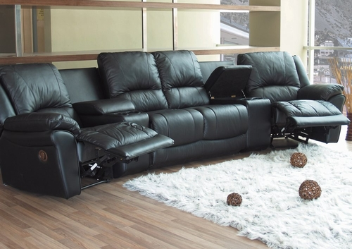 Theater Sectional in Black Leather - Coaster