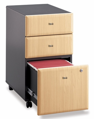 Three-Drawer File (Assembled) - Series A Beech Collection - Bush Office Furniture - WC14353SU