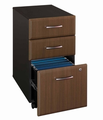 Three-Drawer File (Assembled) - Series A Walnut Collection - Bush Office Furniture - WC25553SU