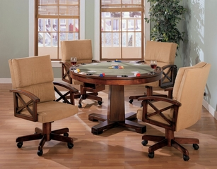 Three-in-One Game Table and Chair Set in Cherry / Walnut with Black Accents - Coaster