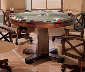 Three-in-One Game Table in Cherry / Walnut with Black Accents - Coaster