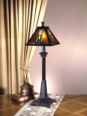 Tiffany Lamp - Dale Tiffany Amber Monarch Buffet Table Lamp - TB100715