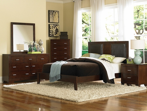 Tiffany Queen Size Bedroom Furniture Set in Country Cherry - Coaster - 200761Q-BSET