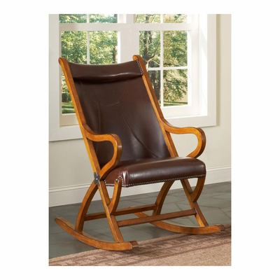 Tobacco / Brown Leather Rocking Chair - Largo - LARGO-ST-L735