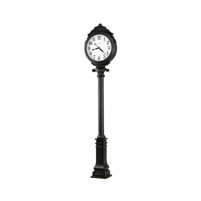 Town Square Satin Black Floor Clock - Howard Miller