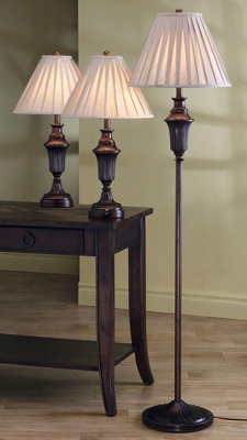 Traditional 3PC Lamp Set in Bronze - 901147
