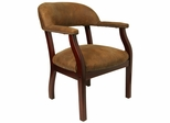 Traditional Captain's Chair with Bomber Jacket Microfiber - B-Z105-BRN-GG