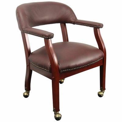 Traditional Captain's Chair with Top Grain Burgundy Leather - B-ZL100-LEATHER-GG