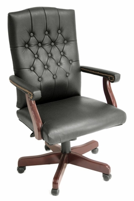 Traditional Office Chair - Ivy League Vinyl Swivel Chair - 9040